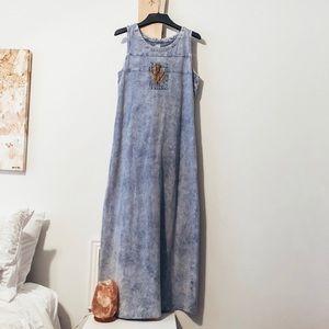 Vintage Acid Wash Sleeveless Babydoll Maxi Dress k